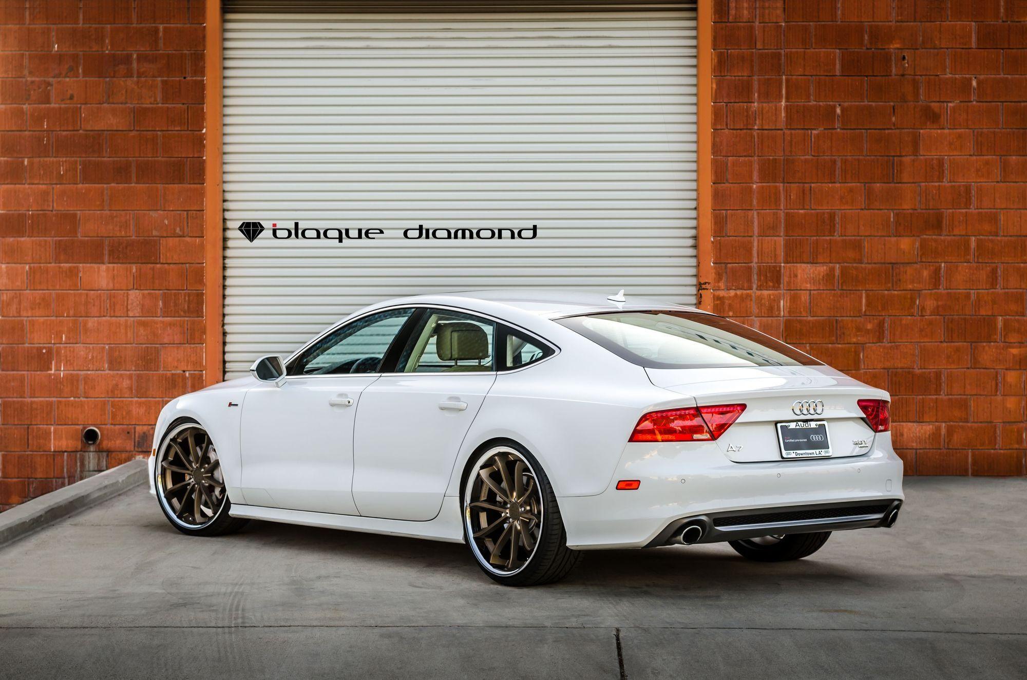 Extremely Stylish White Audi A7 Featuring Bronze Blaque Diamond Rims Audi A7 Audi Diamond Rims