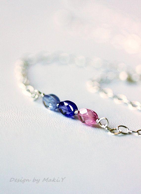Delicate Multicolor Zircon Bracelet sterling silver by pinkymonkey, $26.00