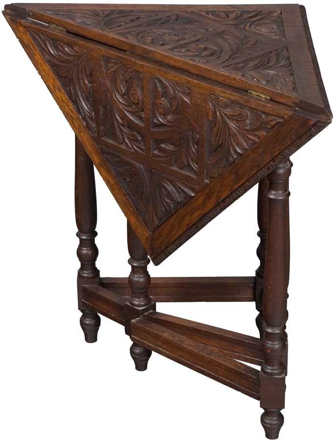 Victorian Period carved oak antique corner table. Drop leaf / gate leg  design. - Antique Corner Table In 2018 Awesome Antiques Pinterest Corner