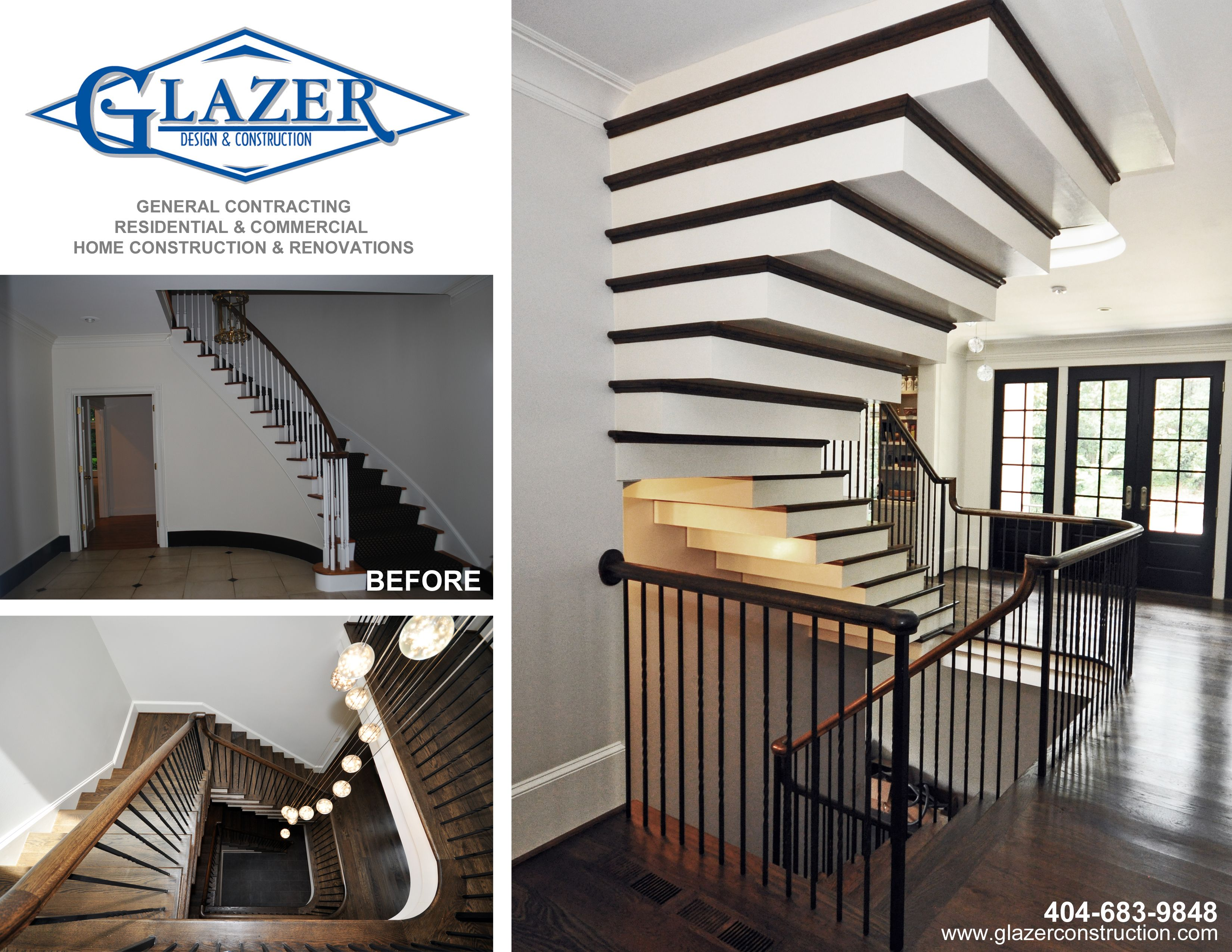 Custom Floating Stairs In A Home In Buckhead Glazer Design And
