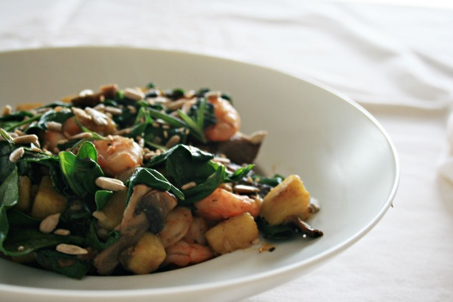 get some coconuts: sweet potato and shrimp combo