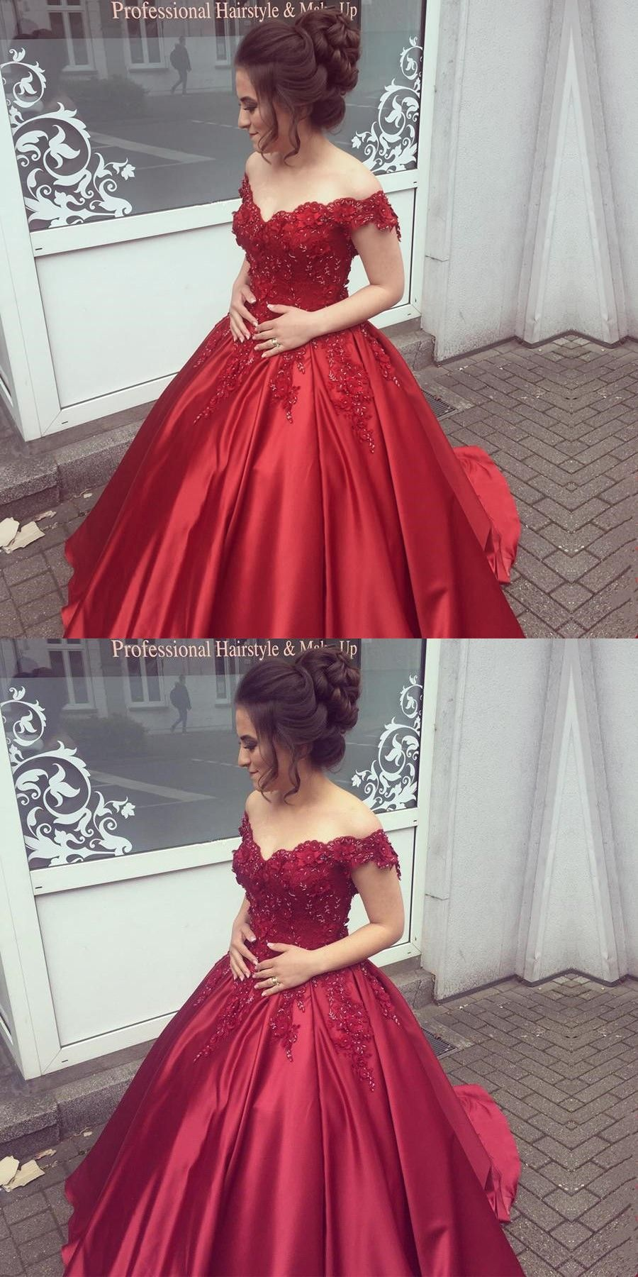Ball gown offtheshoulder dark red prom dress with beading
