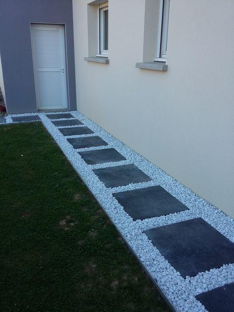 dalle galet allée gravier pas japonais dalle grise décoratif blanc - mettre du gravier dans son jardin
