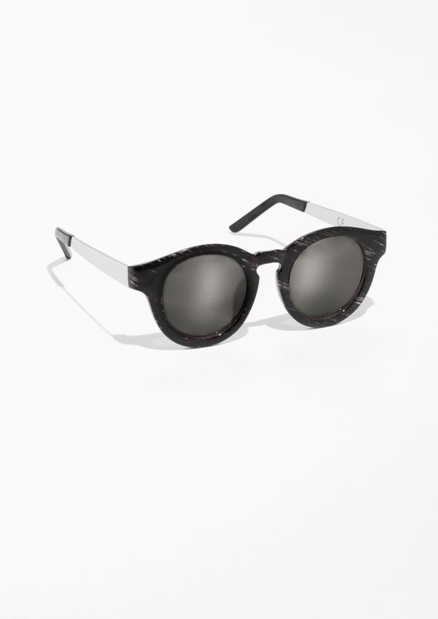 & Other Stories Mirrored Round Frame Sunglasses in Black | glasses ...