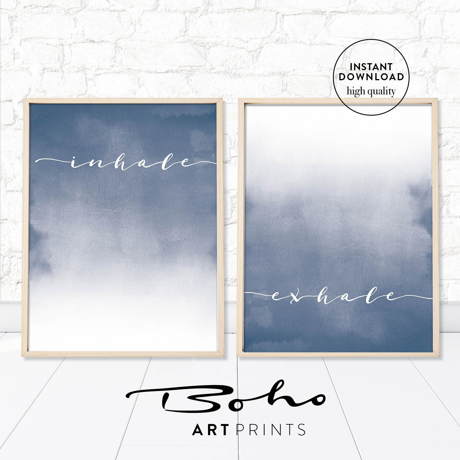 Inhale Exhale Print Set 2 indigo, Poster Yoga gift, Inhale Exhale printable , blue Wall art inhale exhale print ,blue bedroom decor #inhaleexhale