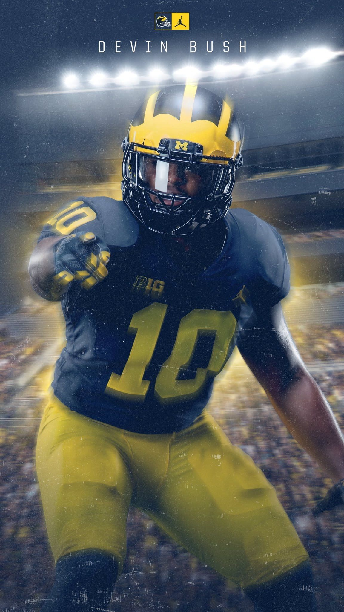 MM DEVIN BUSH MICHIGAN WOLVERINES FOOTBALL 8X10 SPORTS PHOTO