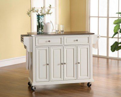 Crosley Furniture Stainless Steel Top Kitchen Cart/Island, White ...