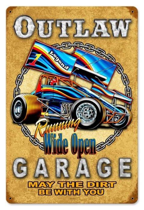 VINTAGE METAL GARAGE MANCAVE SIGN Bakersfield Isky 12 x 12