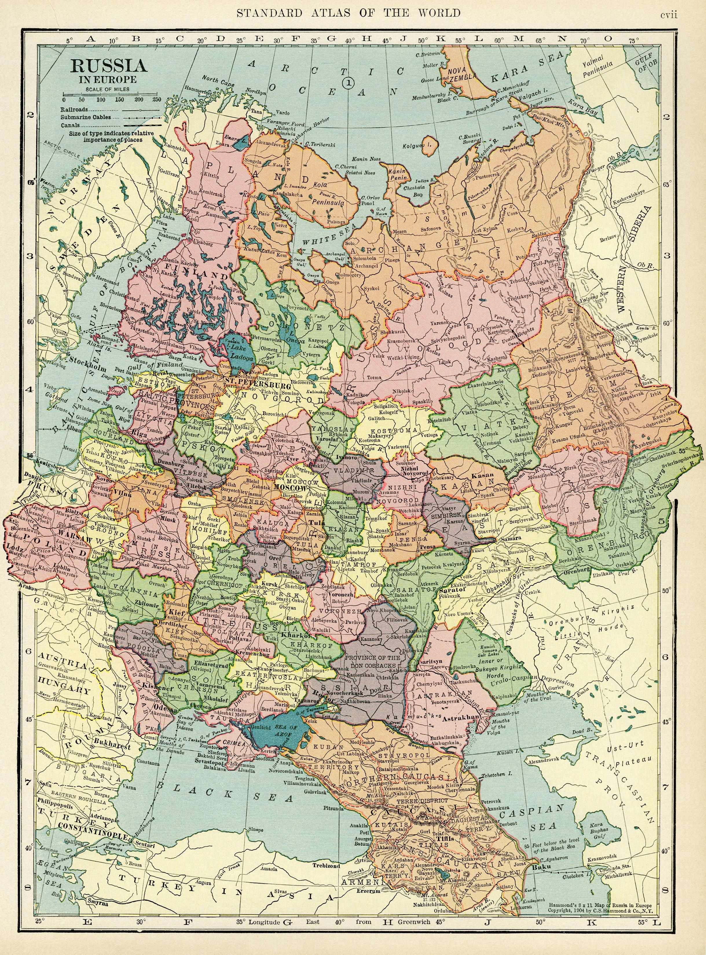 European Russia (1906) | Map, Historical maps, Russia map