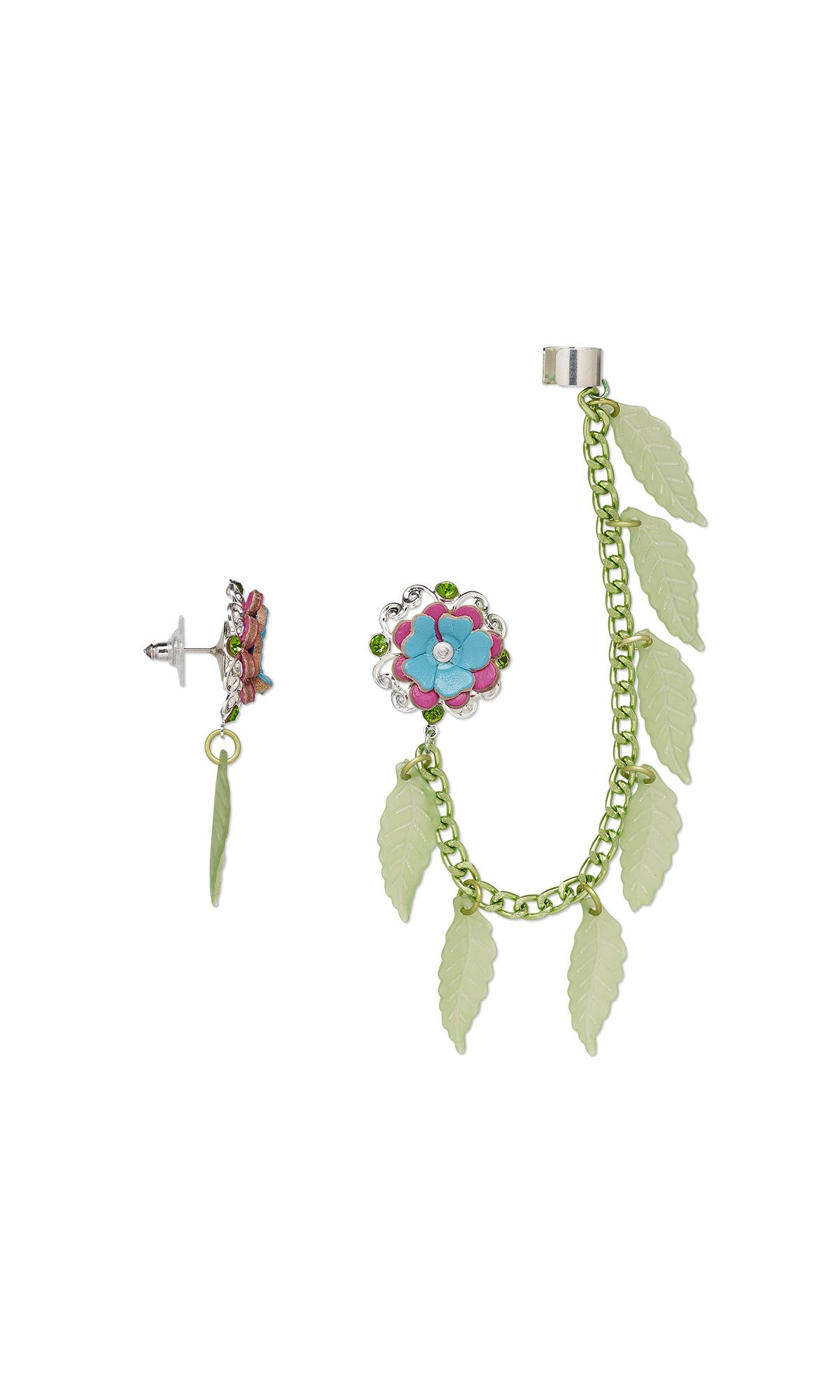 f4bbf77284c Jewelry Design - Ear Cuff and Earring Set with Acrylic Charms, Glass ...