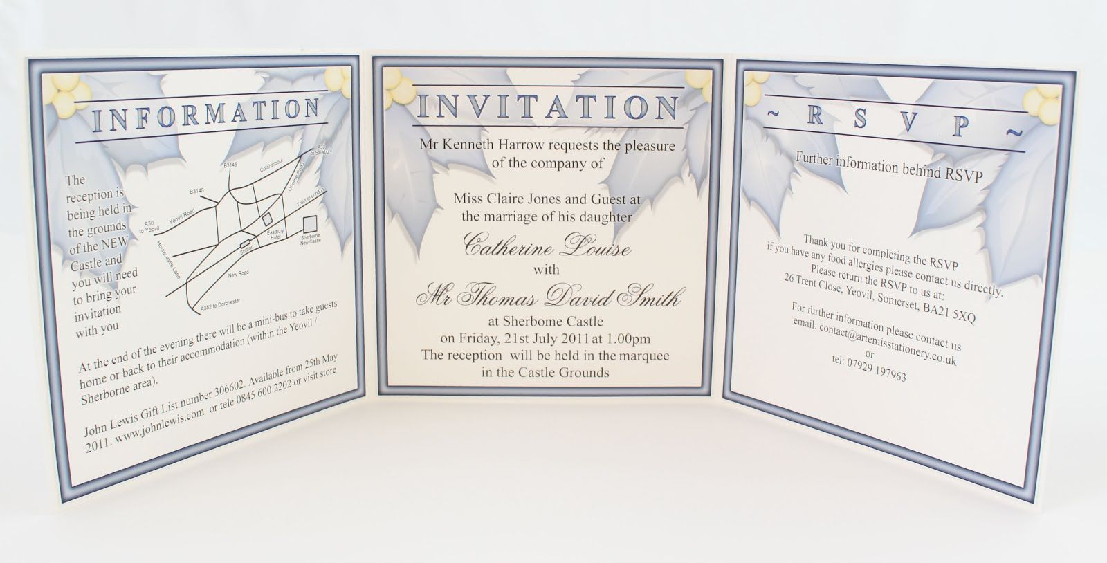 Trifold Invitation Showing Invitation Text Rsvp And Wedding - Tri fold wedding invitation template