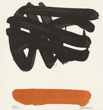 """Pierre Soulages (Born 1919 Rodez) """"Lithography No. 30"""" Colour lithograph 1972 29 x 54 cm Fig. 27.5 x 24.5 cm"""
