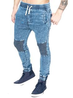 F S Men Slim Fit Biker Jogger Jeans - Washed Blue   Grime Rapper ... 1e382c0b112b