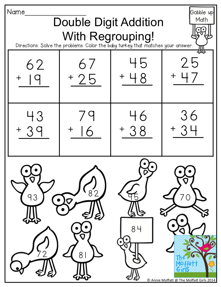 2 digit addition with regrouping worksheets first grade