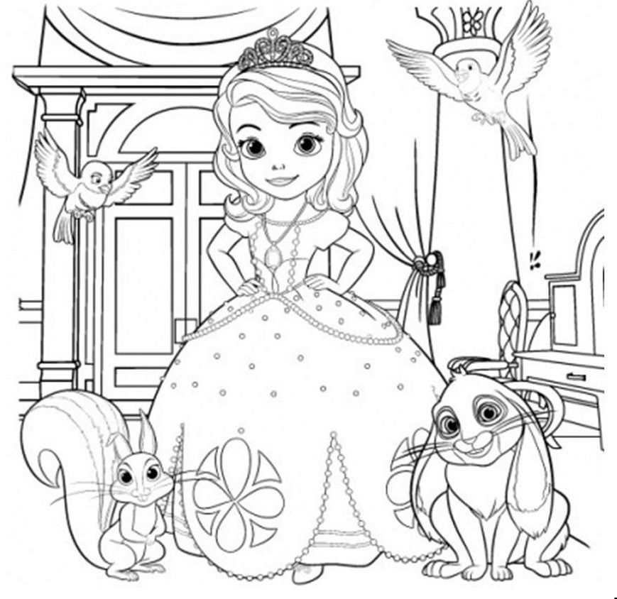 disney tangled coloring pages printable princess sofia and pets coloring book - Sofia Colouring Book