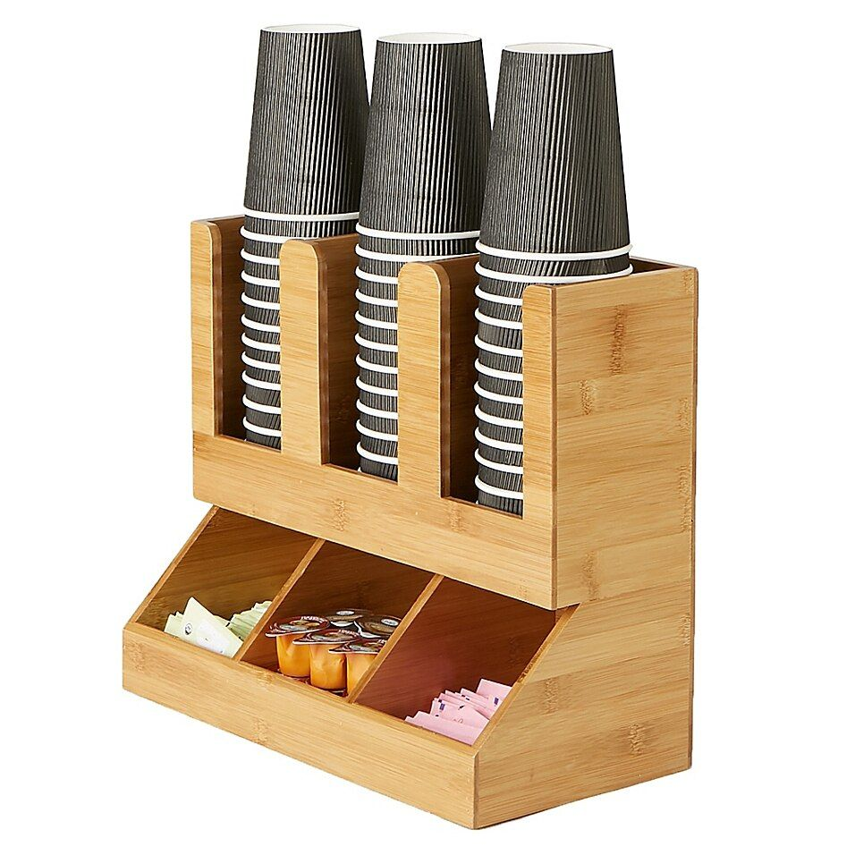 Mind Reader 6-Compartment Upright Coffee Condiment Organizer In Brown - This one piece Coffee Condiment Organizer from Mind Reader has 6 compartments that is a necessity for any break room or kitchen. Holds Sugars, creamers, stirrers, napkins, tea bags, cups, lids and more. Durable, compact design.