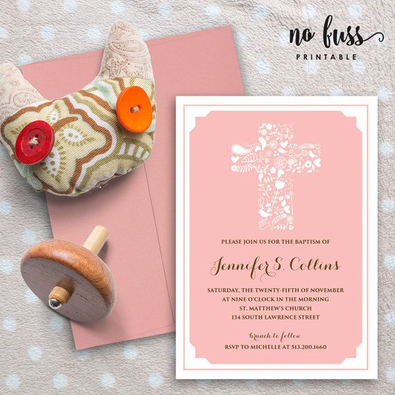 Pink Cross Flora Baptism Invitation  by NoFussPrintable on Etsy
