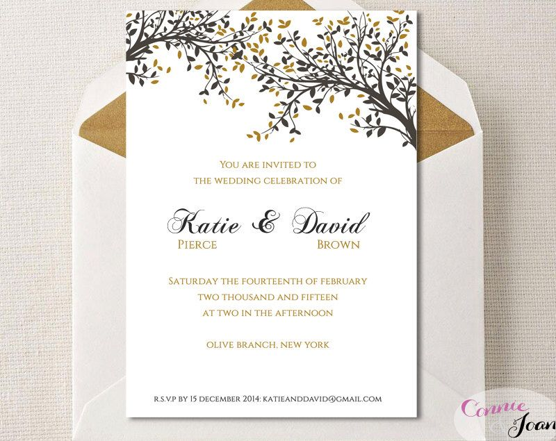 DIY Printable Wedding Invitation Template| Black Gold Leaves ...