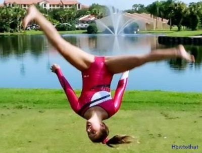 an aerial cartwheel is a gymnastics which performs without