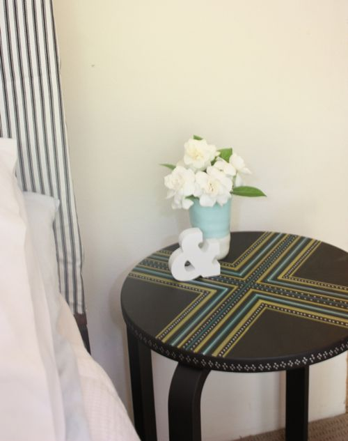 Stool Bedside Table: Painted Bedside Stool/table