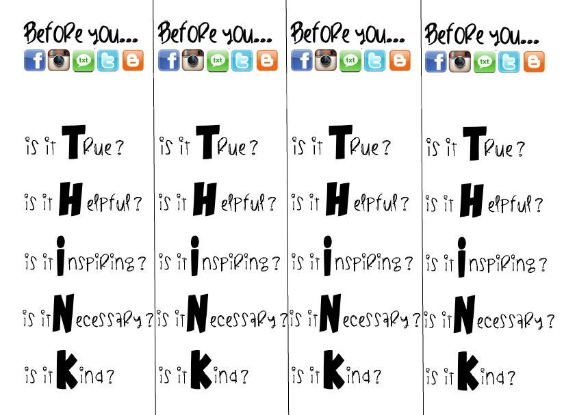 Before you post, think! Digital Citizenship bookmark Digital - citizenship form
