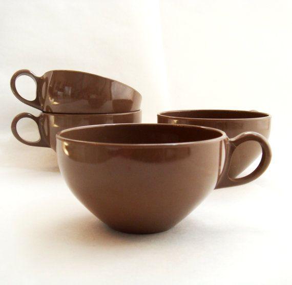 Vintage Melamine Cups OD by eida Brown Coffee Cup Set Four