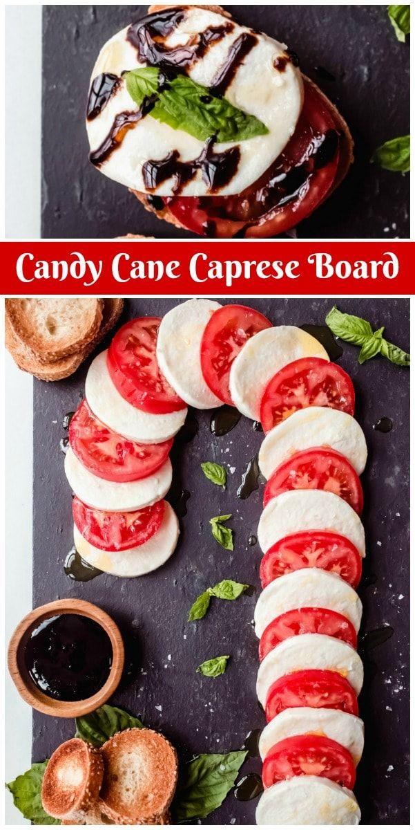 Candy Cane Caprese Board