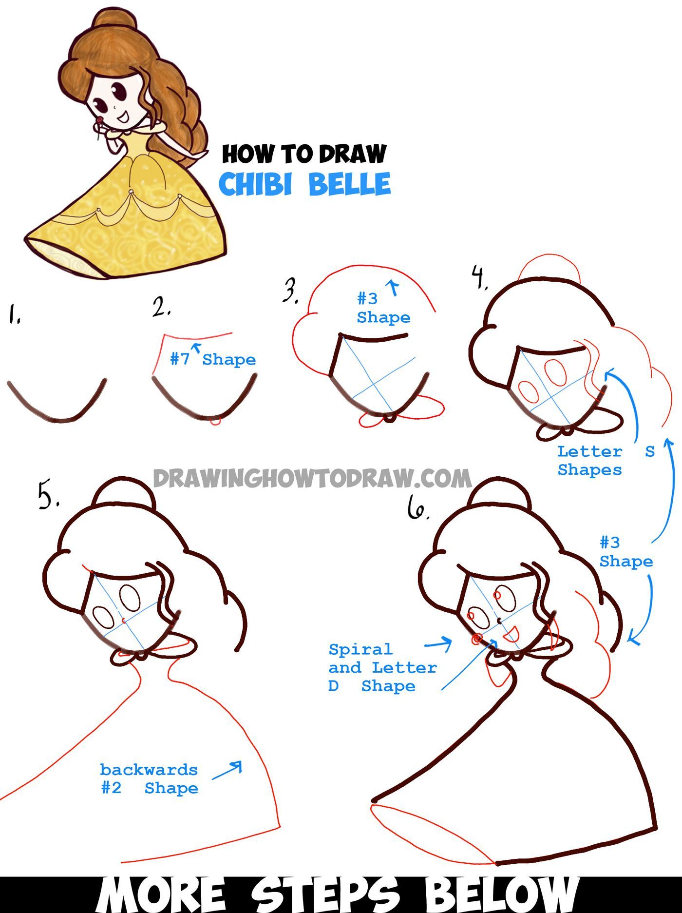 How To Draw Cute Baby Chibi Belle From Beauty And The Beast Easy Tutorial How To Draw Step By Step Drawing Tutorials Easy Drawings Cute Drawings Easy Disney Drawings