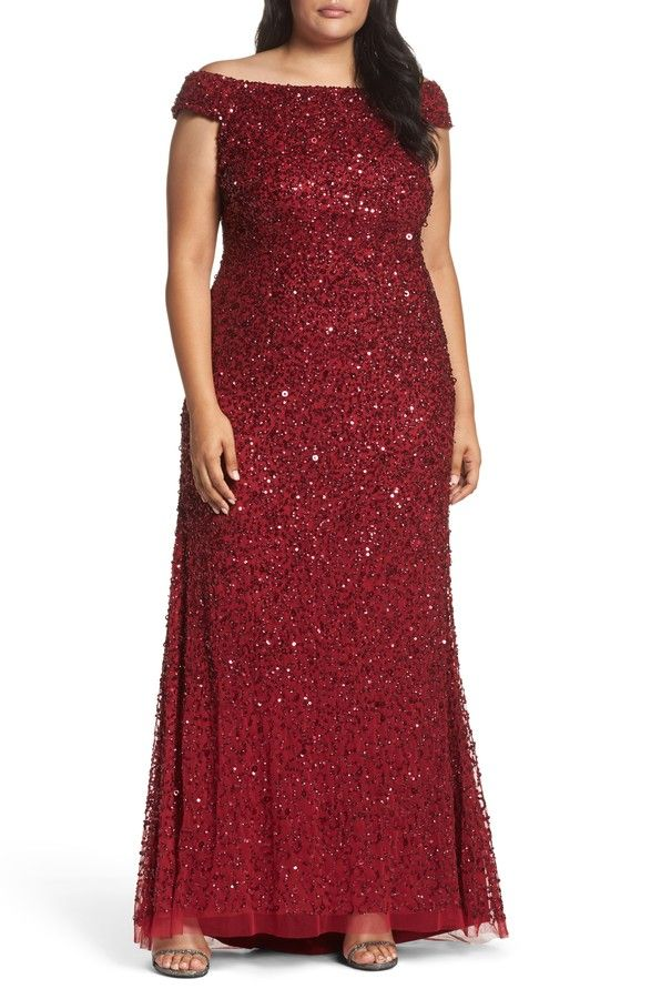 Main Image - Adrianna Papell Beaded Mesh Off the Shoulder Gown (Plus ...