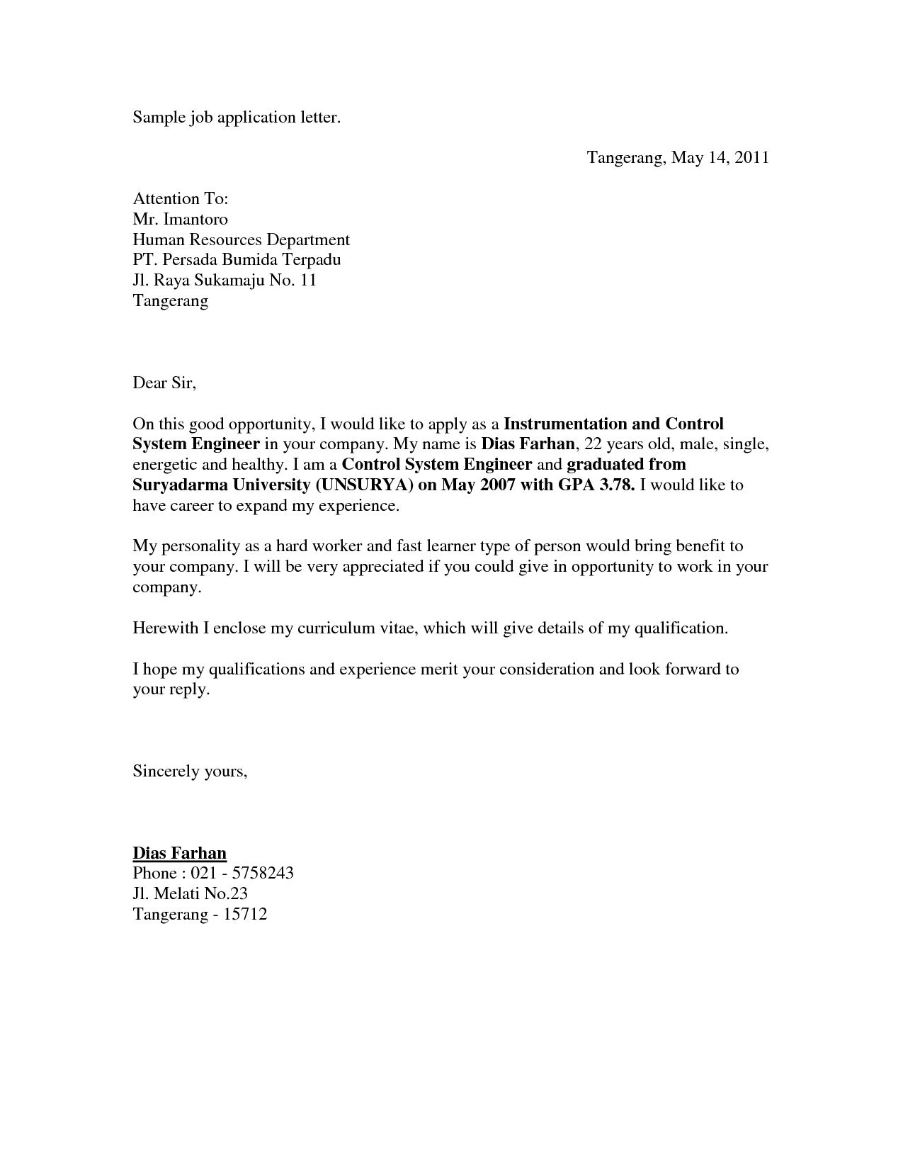 Letter Application Letter Sample For Unadvertised Job Sample and