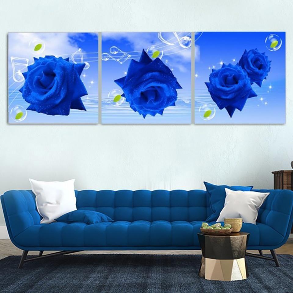 Blue rose wall art canvas wall art canvas pinterest canvas