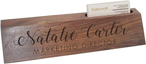 Best Seller Custom Engraved Desk Name Plate - Personalized Desk Wedge  Business Card Holder (Walnut Wood) online - Thechicfashionideas