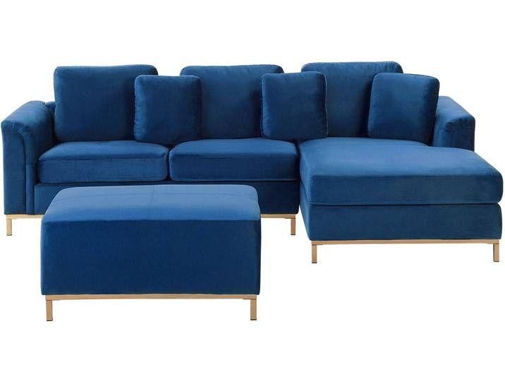 Ecksofa Samtstoff Dunkelblau Linksseitig Mit Ottomane Oslo In 2020 Couch Furniture Home Decor