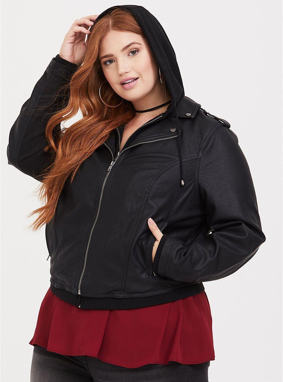 Black Hooded 2fer Moto Jacket Jackets, Moto jacket