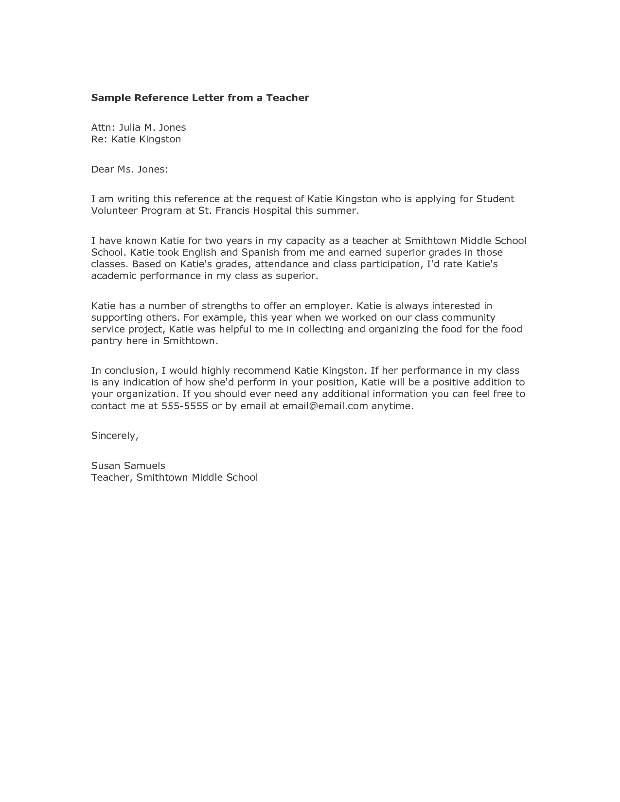 6 Reference Letter Template For Student From Teacher Bussines