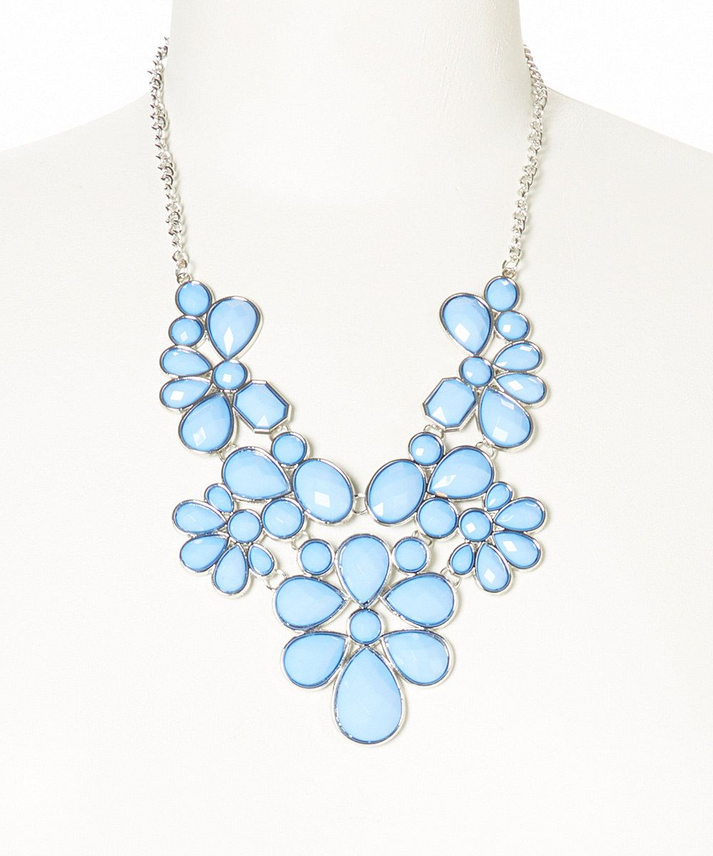 zulilyfinds bib lux flower is blue accessories faceted pin this perfect light by necklace