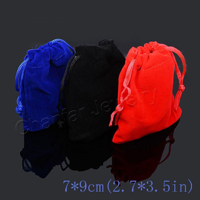 10 pz/borsa Imballaggio Dei Monili sacchetto di Velluto 7x9 cm, sacchetti di imballaggio Regalo Con Coulisse bags & Pouches