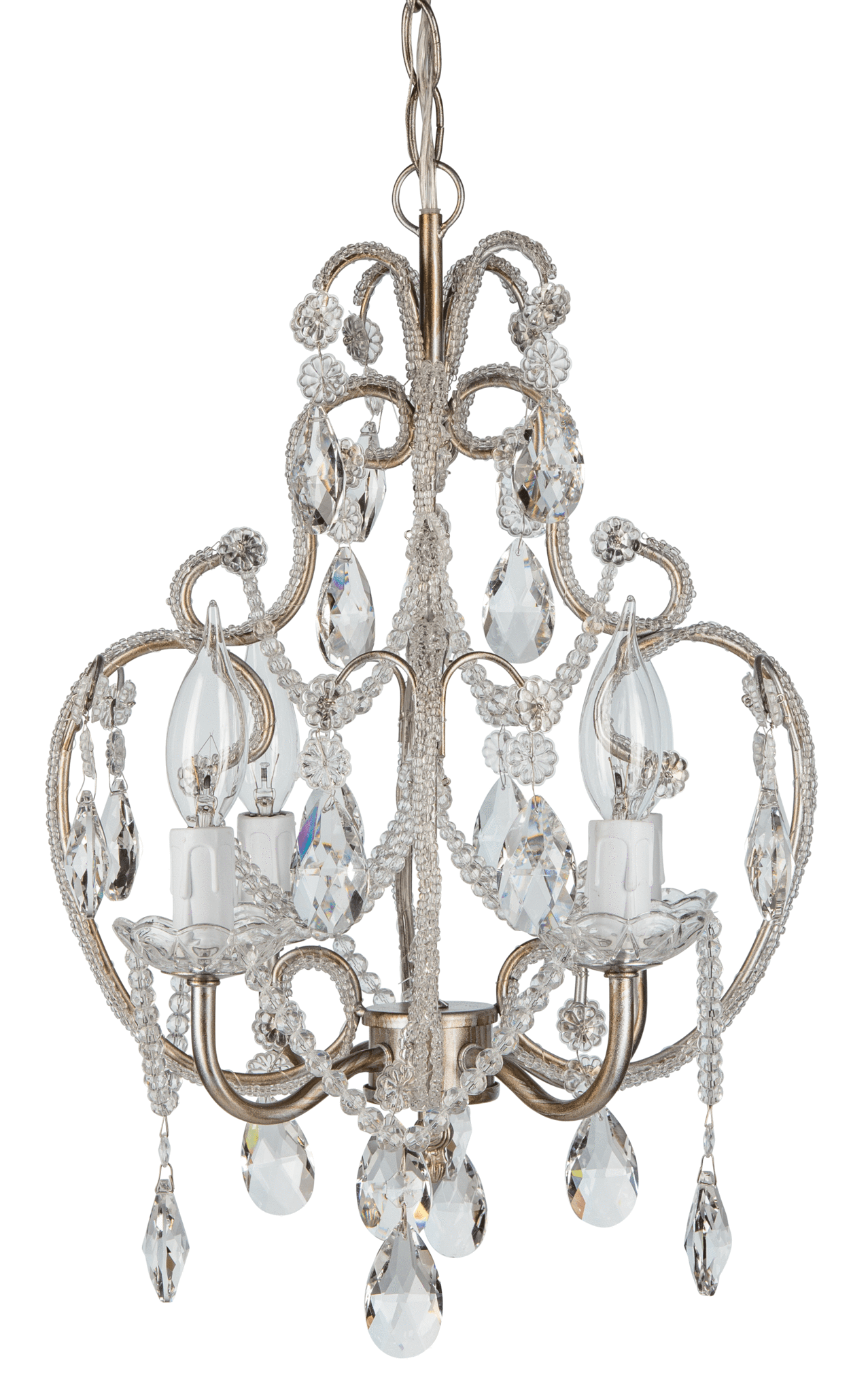 4 Light Beaded Crystal Plug In Chandelier Silver