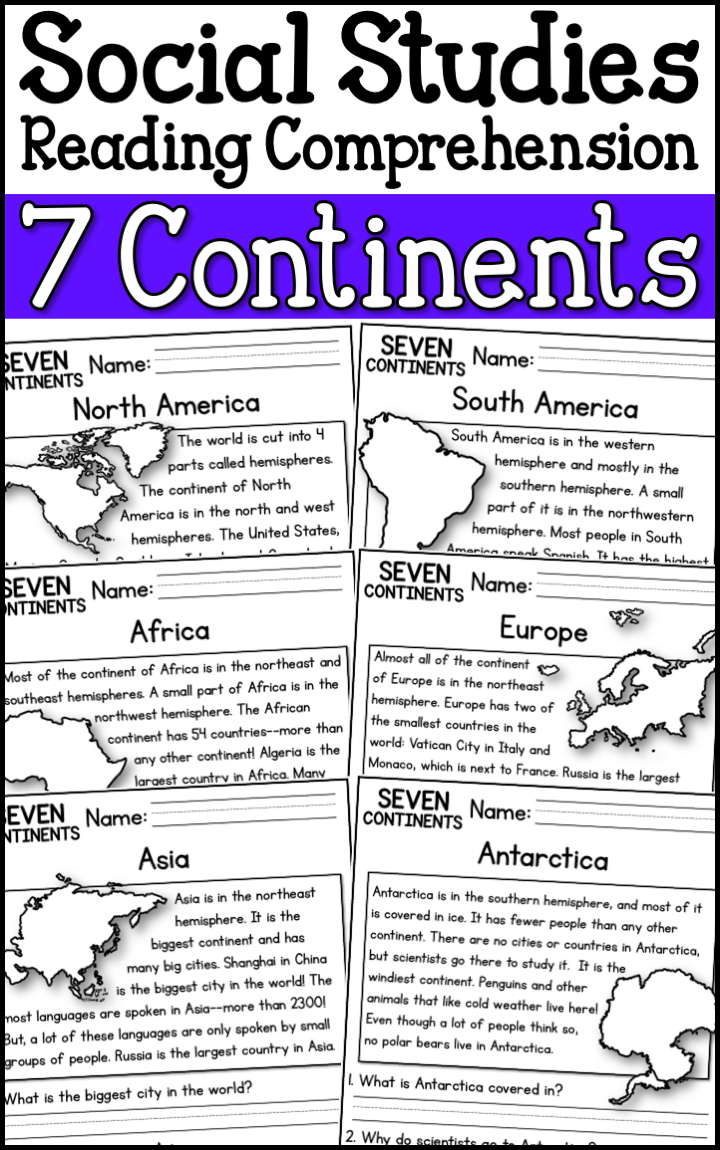 7 Continents Reading Comprehension Passages (K-2) - A Page Out of History   Social  studies worksheets [ 1150 x 720 Pixel ]