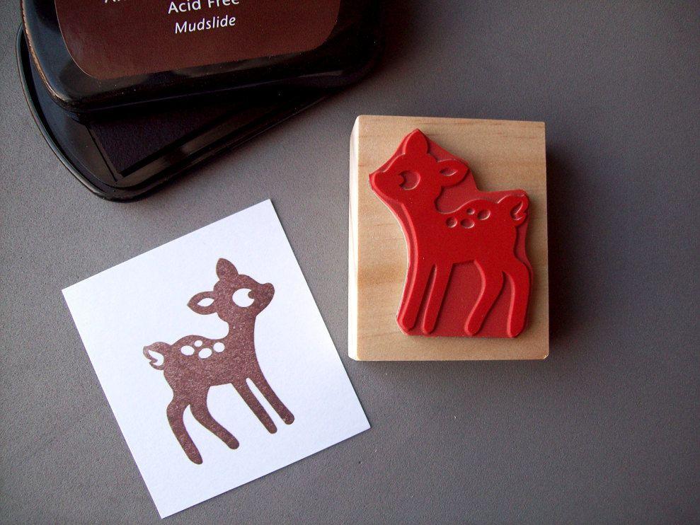 Baby Deer Rubber Stamp Handmade Woodland Wood Mounted 1500 Via Etsy