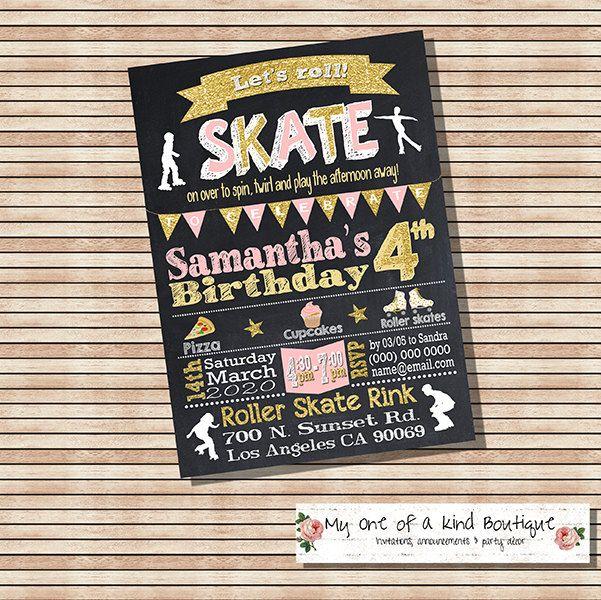 Roller skating birthday invitation roller skates party invite skate girl pink gold chalkboard digital printable invitation 13911 by myooakboutique on Etsy