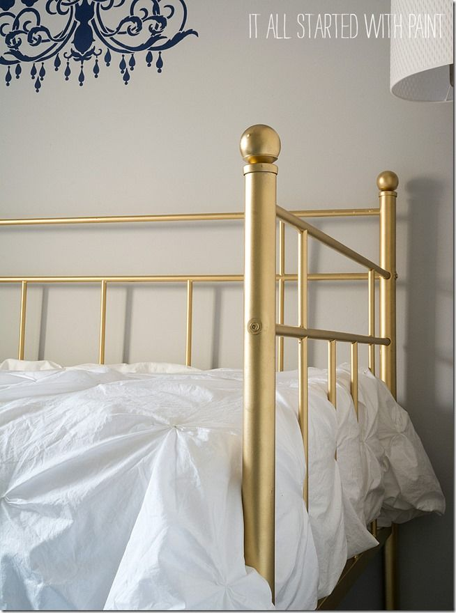 Gold Bed Frame Created With Spray Paint Gold Bed White Metal