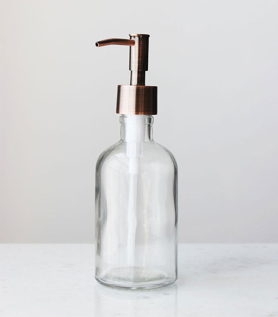 Soap Dispenser Small Clear Recycled Glass Soap Dispenser W