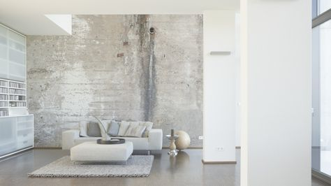 Tapeten im Wohnzimmer; Architects Paper Fototapete «Alte Betonwand