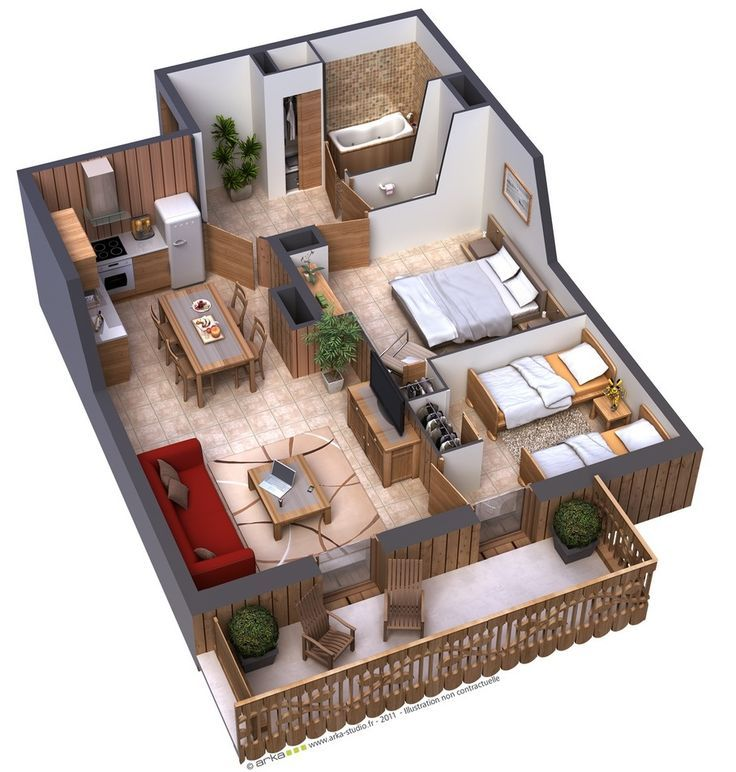 25 Two Bedroom House/Apartment Floor Plans Bedroom