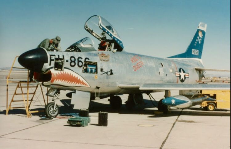 A 1950 S North American F 86d Gets A Little Maintenance At A Base Airplane Fighter Fighter Us Military Aircraft
