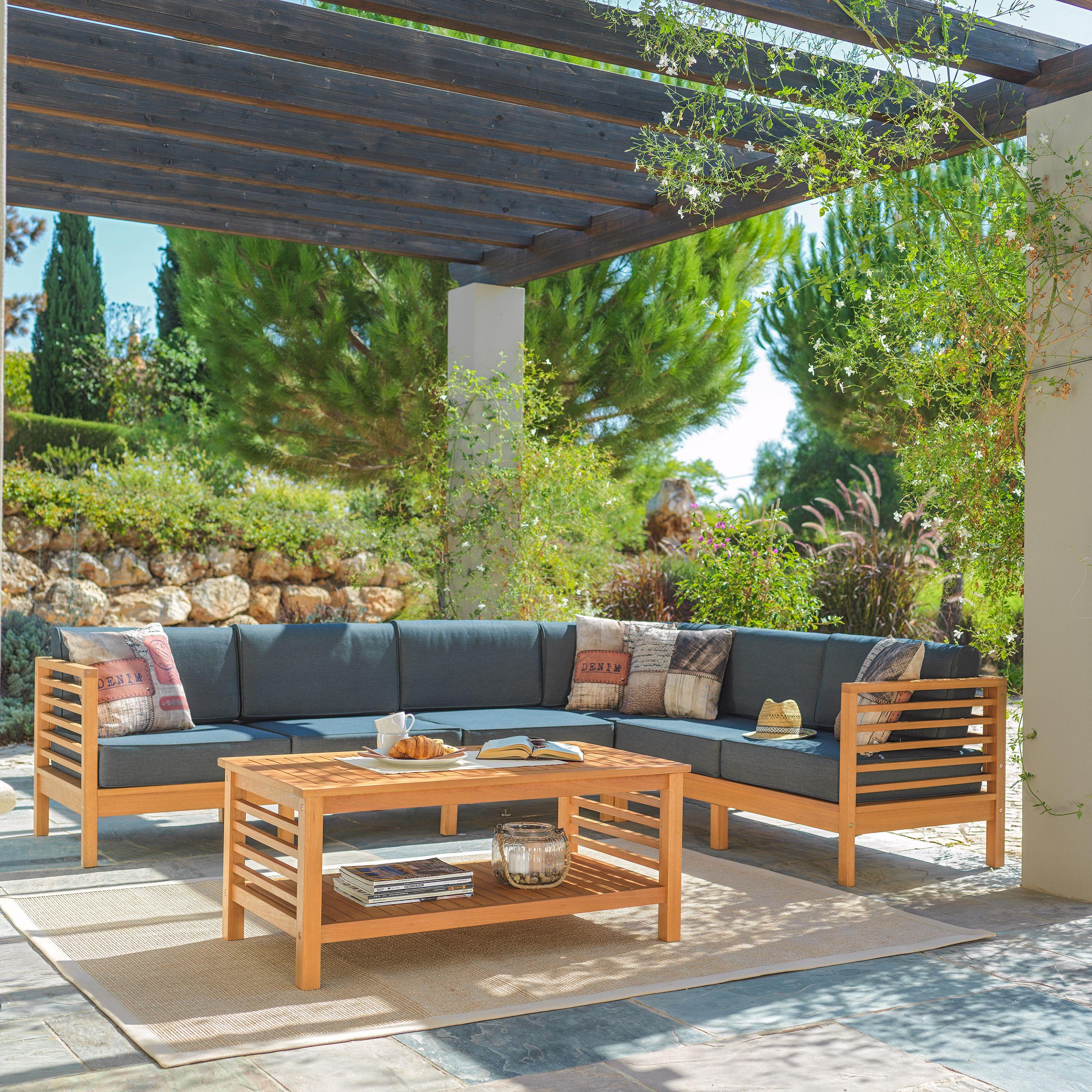garten lounge aus holz und textil - tolles design für die terrasse