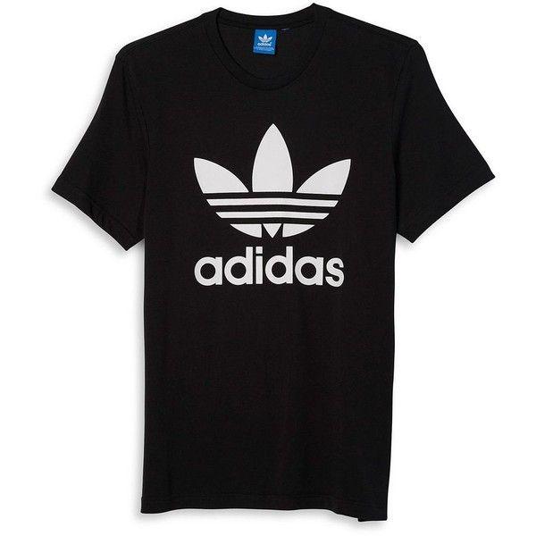 18284e604 Adidas Logo-Printed Cotton Tee ($28) ❤ liked on Polyvore featuring men's  fashion, men's clothing, men's shirts, men's t-shirts, black, mens cotton t  shirts ...