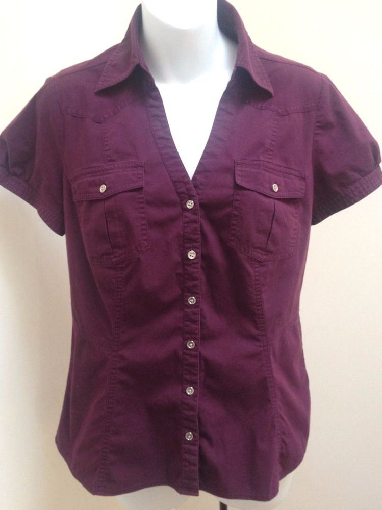 1ab6acdbd Express M Top Purple Button Down Cotton Stretch Puff Short Sleeve #fashion  #clothing #shoes #accessories #womensclothing #tops (ebay link)