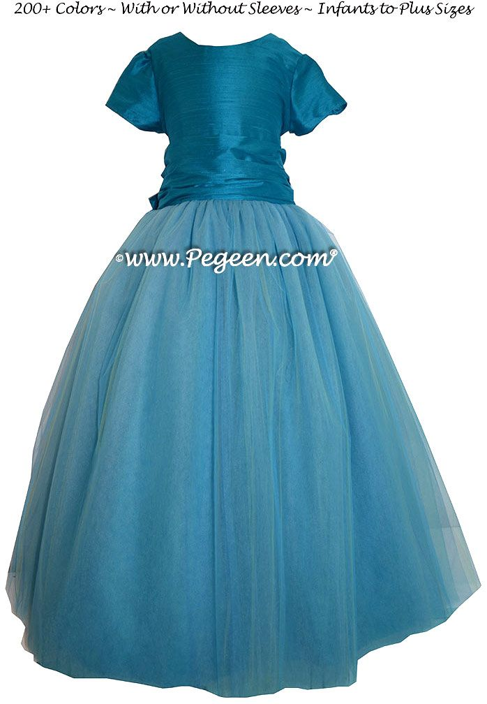 2628b131053 Mosaic (teal) Silk and Tulle ballerina style FLOWER GIRL DRESSES with  layers and layers of tulle